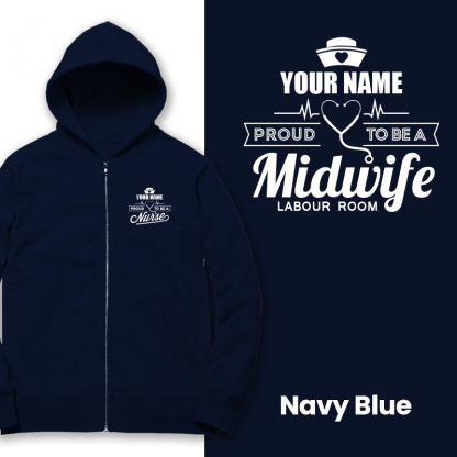 proud to be a midwife labour room navy blue