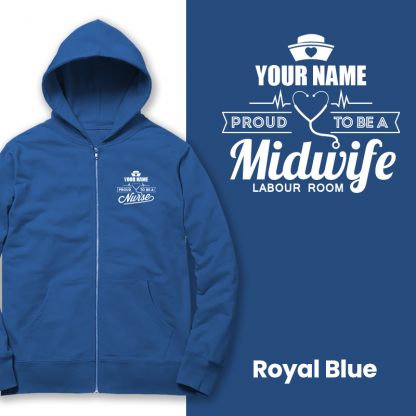 proud to be a midwife labour room royal blue