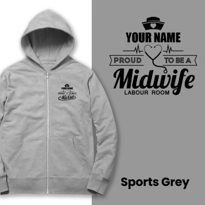 proud to be a midwife labour room sports grey
