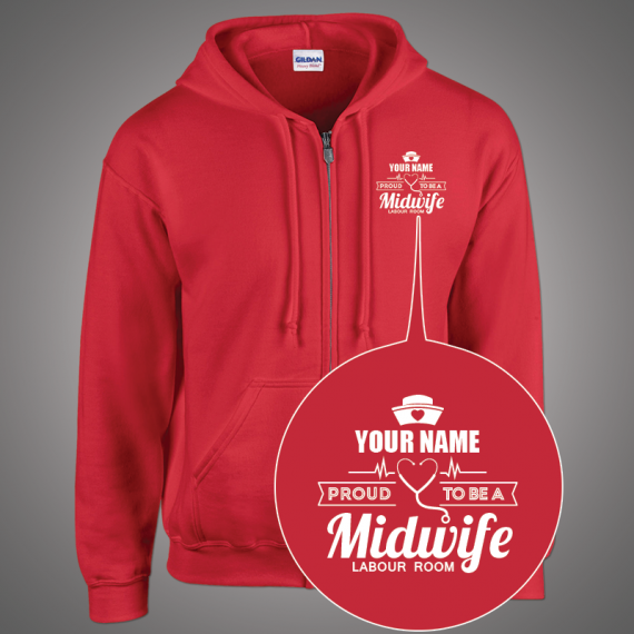 hoodie-zip-red-front-Midwife