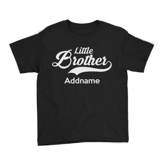 Kids-Tee-Retro-Family-Little-Brother-Addname-Black