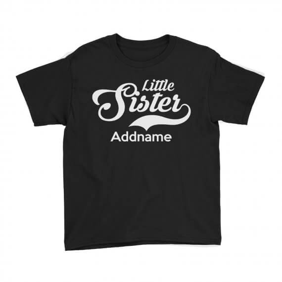 Kids-Tee-Retro-Family-Little-Sister-Addname-Black