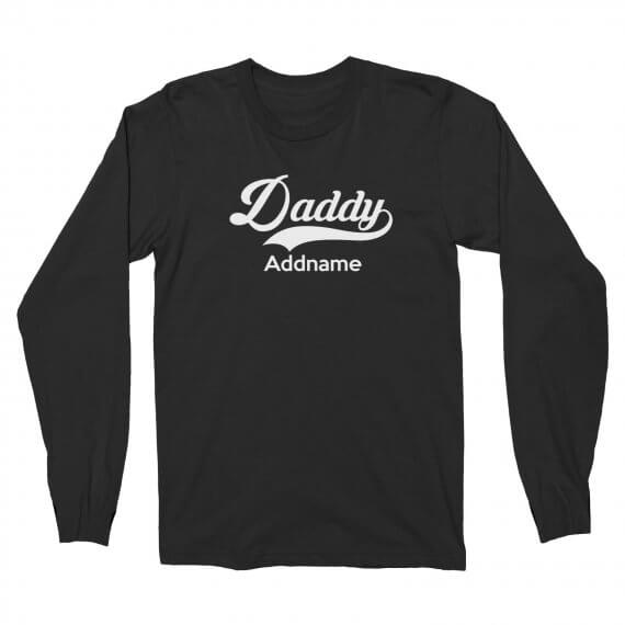 Long Sleeve Retro Family Daddy Addname Black