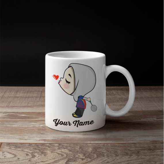 Cute Female Badminton Couple Mug