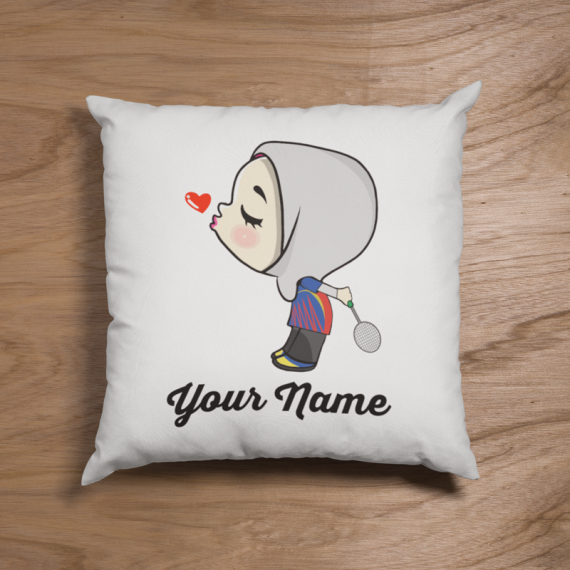 Cute Female Badminton Couple Pillow