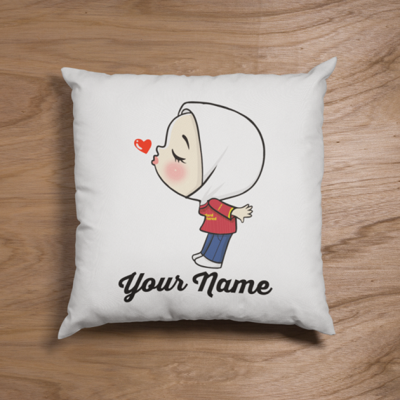 Cute Female Hijab Liver Pool Fans Pillow