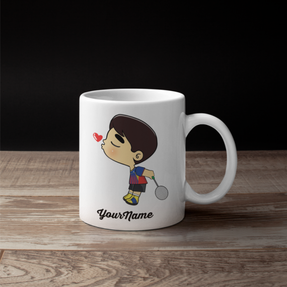 Cute Male Badminton Couple Mug
