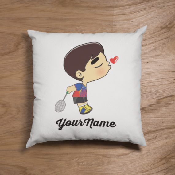 Cute Male Badminton Couple Pillow