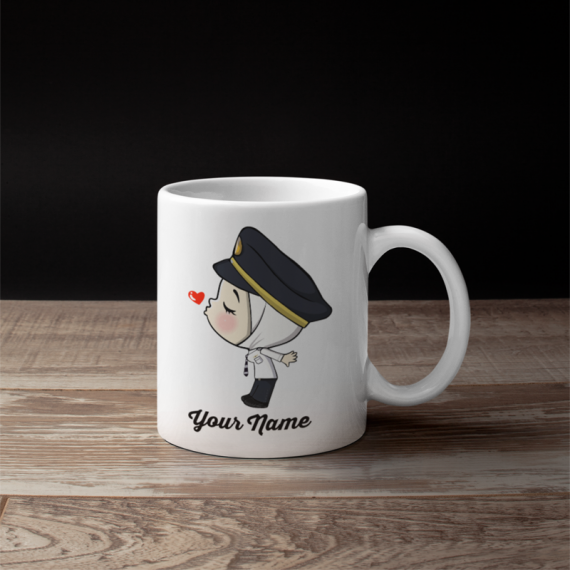 Cute Female Hijab Malaysian Pilot Couple Mug