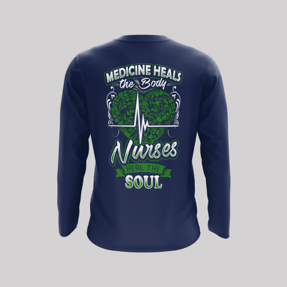 Nurses-heal-the-soul-Long-sleeve-back-navy