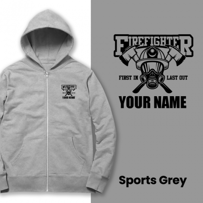 firefighter first in last out sports grey