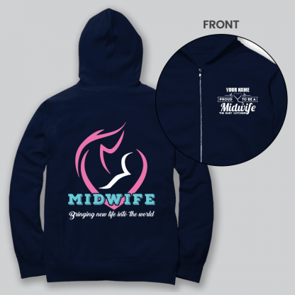 mid wife front and back navy blue