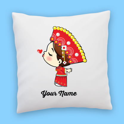 cute chinese bride couple pillow