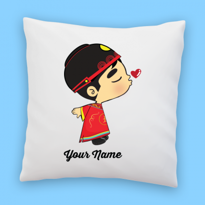 cute chinese groom couple pillow
