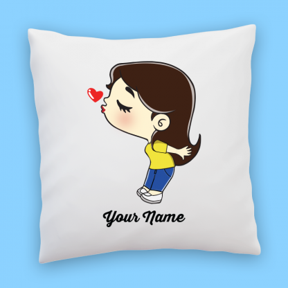 cute girl in jeans couple pillow