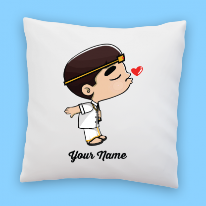 cute indian groom couple pillow