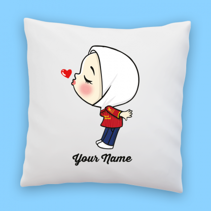 cute liverpool fans girl in hijab couple pillow