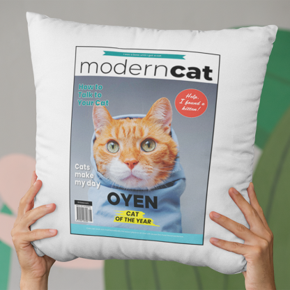 modern cat magazine cover pillow real
