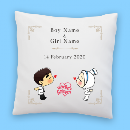 cute couple pillow together forever mockup