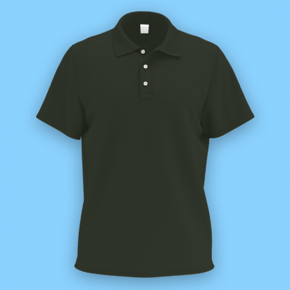 own design microfiber polo tee forest gren front
