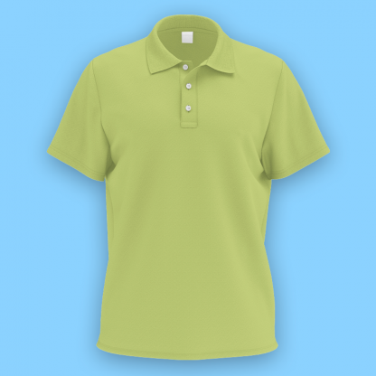 own design microfiber polo tee lime front