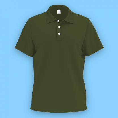 own design microfiber polo tee military green front