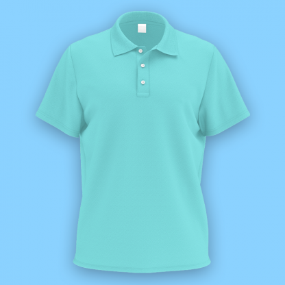 own design microfiber polo tee tiffany blue front