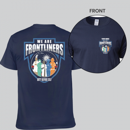 we are frontliners front and back short sleeves navy