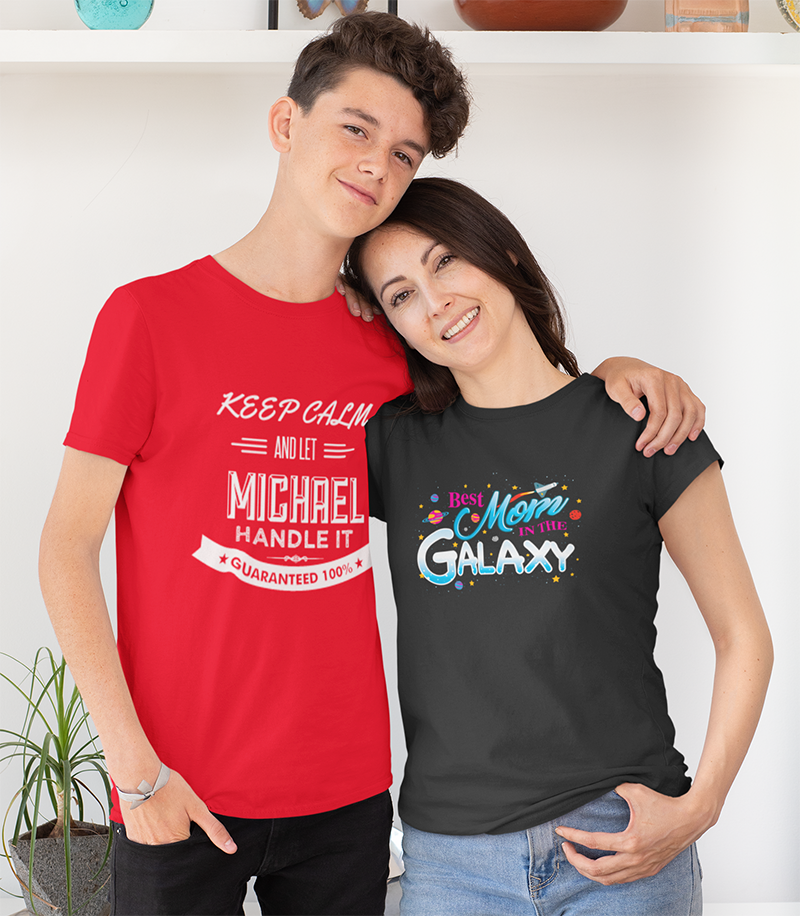 t shirt featuring a teenager hugging his mom 31429