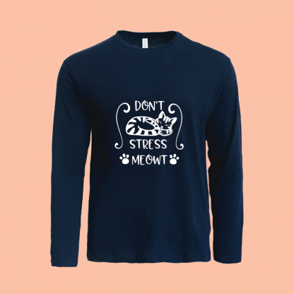 Dont Stress Meow Long Sleeve Navy