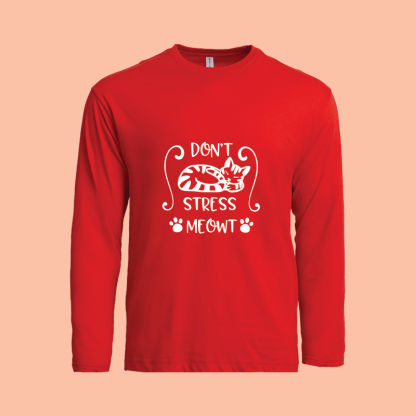 Dont Stress Meow Long Sleeve red