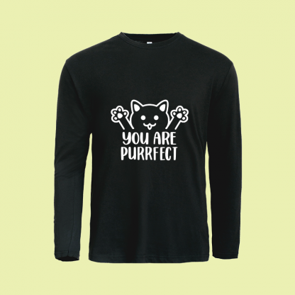 You Are Purrfect long sleeve black