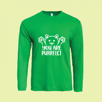 You Are Purrfect long sleeve green