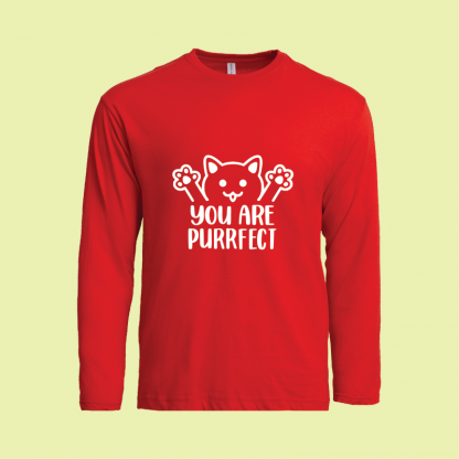 You Are Purrfect long sleeve red