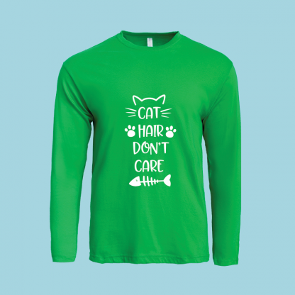 Cat hair dont care cotton long sleeve green