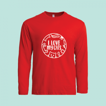I Love My Cats cotton long sleeve red