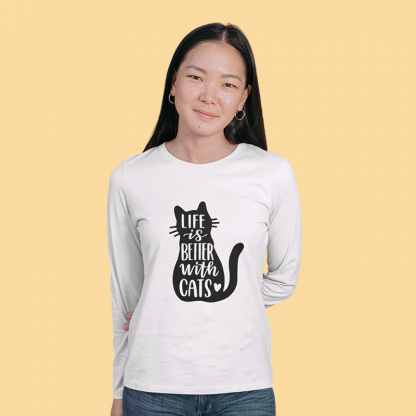 Life Is Better with Cats cotton long sleeve 4