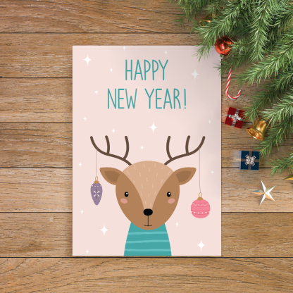 9 Happy new year with cute deer design